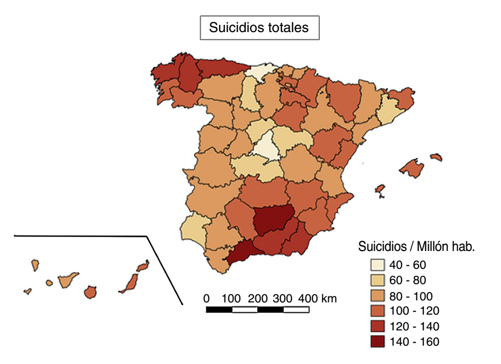 Does the environment affect suicide rates in Spain? A spatiotemporal analysis